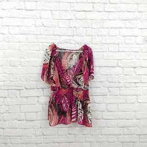 Worthington | Pink Cinched Waist Blouse Sheer